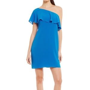 NWT Maggy London crepe one-shoulder blue dress 8
